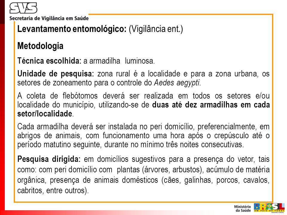 Levantamento entomológico: (Vigilância ent.) Metodologia Técnica escolhida: a armadilha luminosa. Unidade de pesquisa: zona rural é a localidade e par