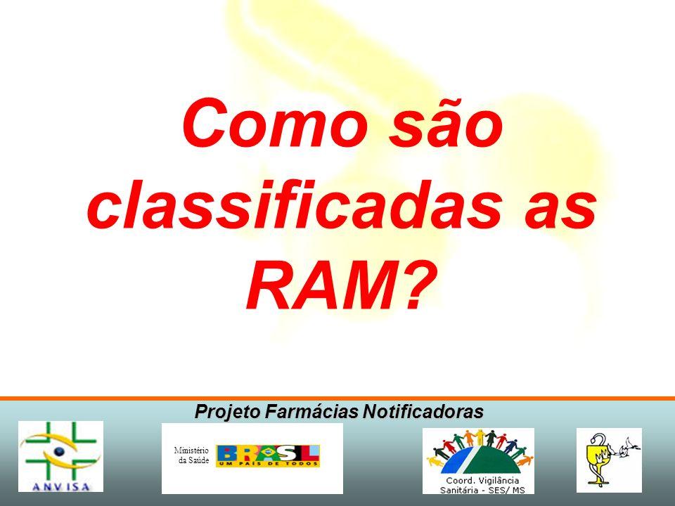 Projeto Farmácias Notificadoras Ministério da Saúde Como são classificadas as RAM?