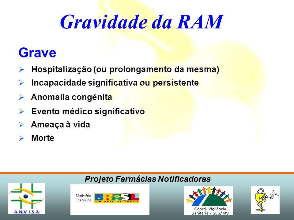 Projeto Farmácias Notificadoras Ministério da Saúde Gravidade da RAM Grave Hospitalização (ou prolongamento da mesma) Incapacidade significativa ou pe
