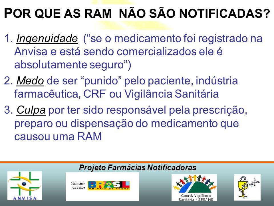 Projeto Farmácias Notificadoras Ministério da Saúde P OR QUE AS RAM NÃO SÃO NOTIFICADAS? 1. Ingenuidade (se o medicamento foi registrado na Anvisa e e