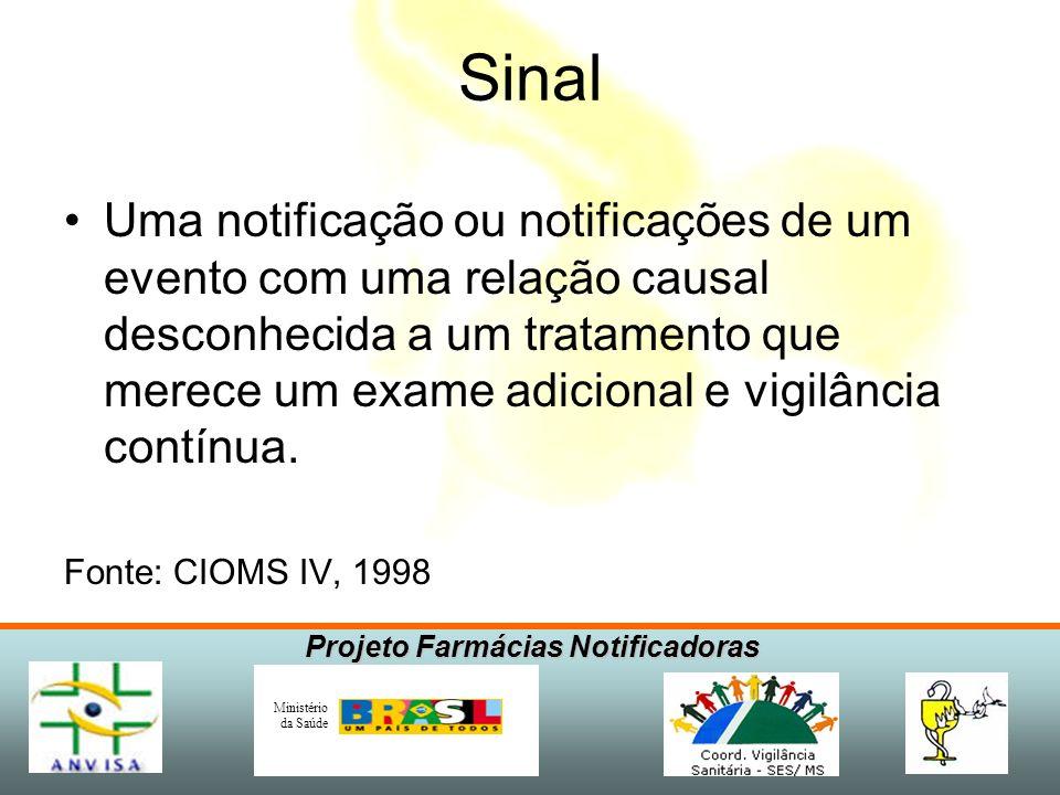 Projeto Farmácias Notificadoras Ministério da Saúde Sinal Uma notificação ou notificações de um evento com uma relação causal desconhecida a um tratam