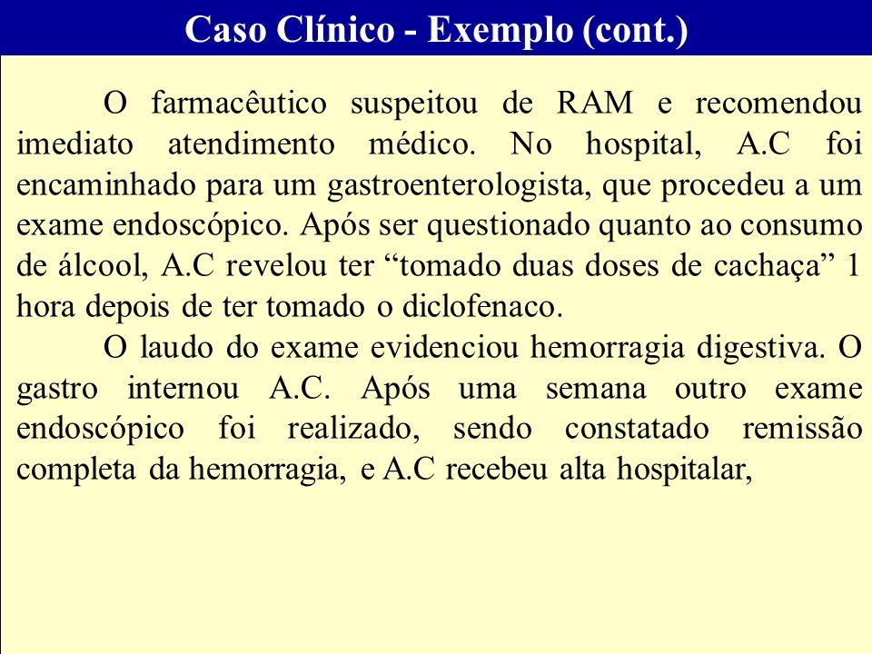 Projeto Farmácias Notificadoras Ministério da Saúde O farmacêutico suspeitou de RAM e recomendou imediato atendimento médico. No hospital, A.C foi enc