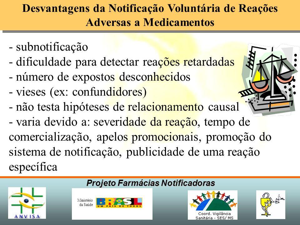 Projeto Farmácias Notificadoras Ministério da Saúde Desvantagens da Notificação Voluntária de Reações Adversas a Medicamentos - subnotificação - dific