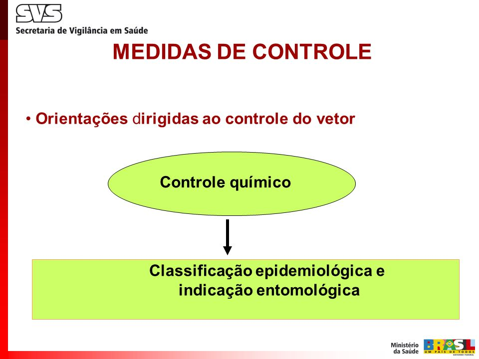 MEDIDAS DE CONTROLE Orientações dirigidas ao controle do vetor Classificação epidemiológica e indicação entomológica Controle químico