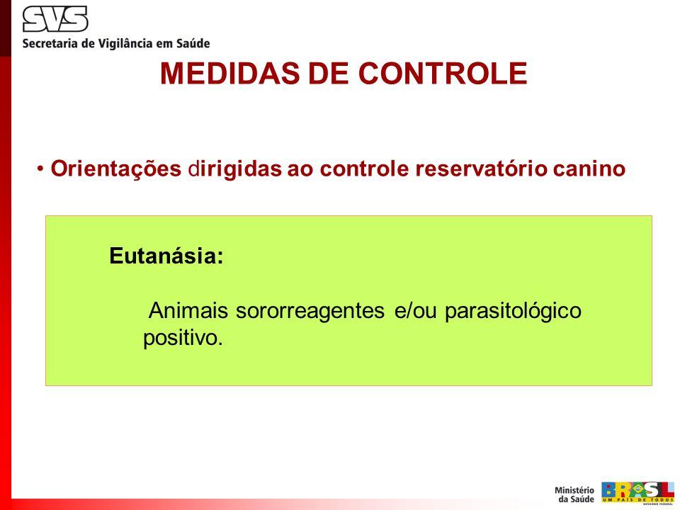 MEDIDAS DE CONTROLE Orientações dirigidas ao controle reservatório canino Eutanásia: Animais sororreagentes e/ou parasitológico positivo.