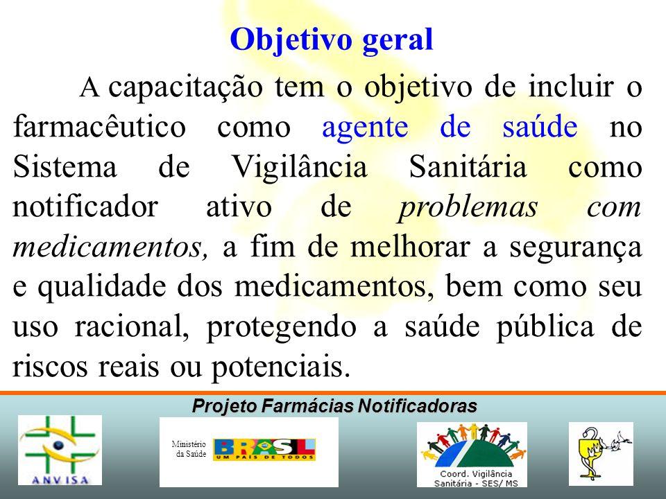 Projeto Farmácias Notificadoras Ministério da Saúde Objetivos específicos 1)Discutir o conceito e a metodologia de farmacovigilância.