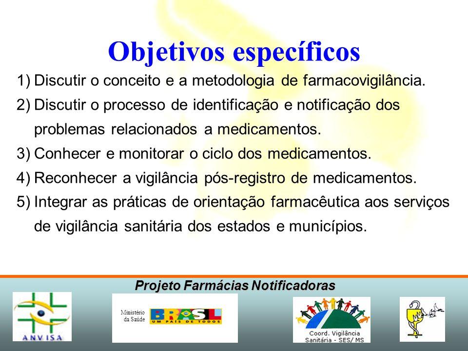 Projeto Farmácias Notificadoras Ministério da Saúde Objetivos específicos 1)Discutir o conceito e a metodologia de farmacovigilância. 2)Discutir o pro