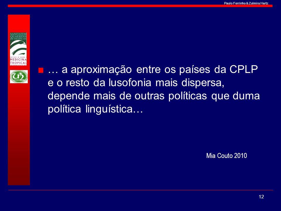 Paulo Ferrinho & Zulmira Hartz … a aproximação entre os países da CPLP e o resto da lusofonia mais dispersa, depende mais de outras políticas que duma
