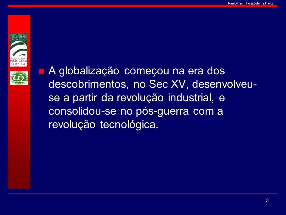 Paulo Ferrinho & Zulmira Hartz A globalização começou na era dos descobrimentos, no Sec XV, desenvolveu- se a partir da revolução industrial, e consol