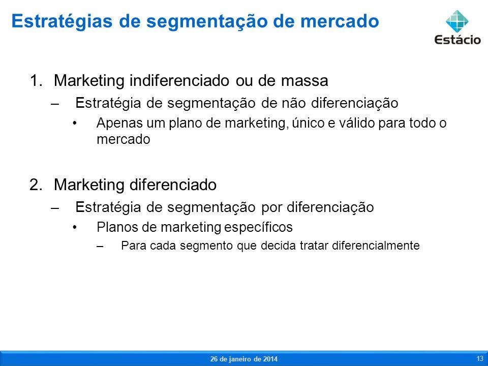 1.Marketing indiferenciado ou de massa –Estratégia de segmentação de não diferenciação Apenas um plano de marketing, único e válido para todo o mercad