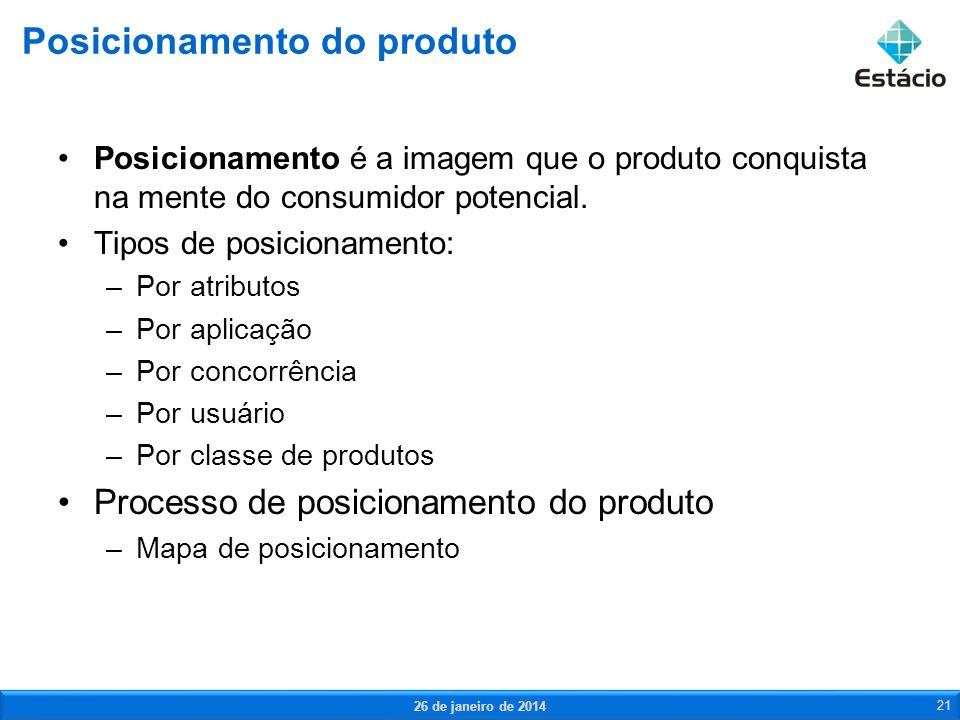 Posicionamento é a imagem que o produto conquista na mente do consumidor potencial. Tipos de posicionamento: –Por atributos –Por aplicação –Por concor