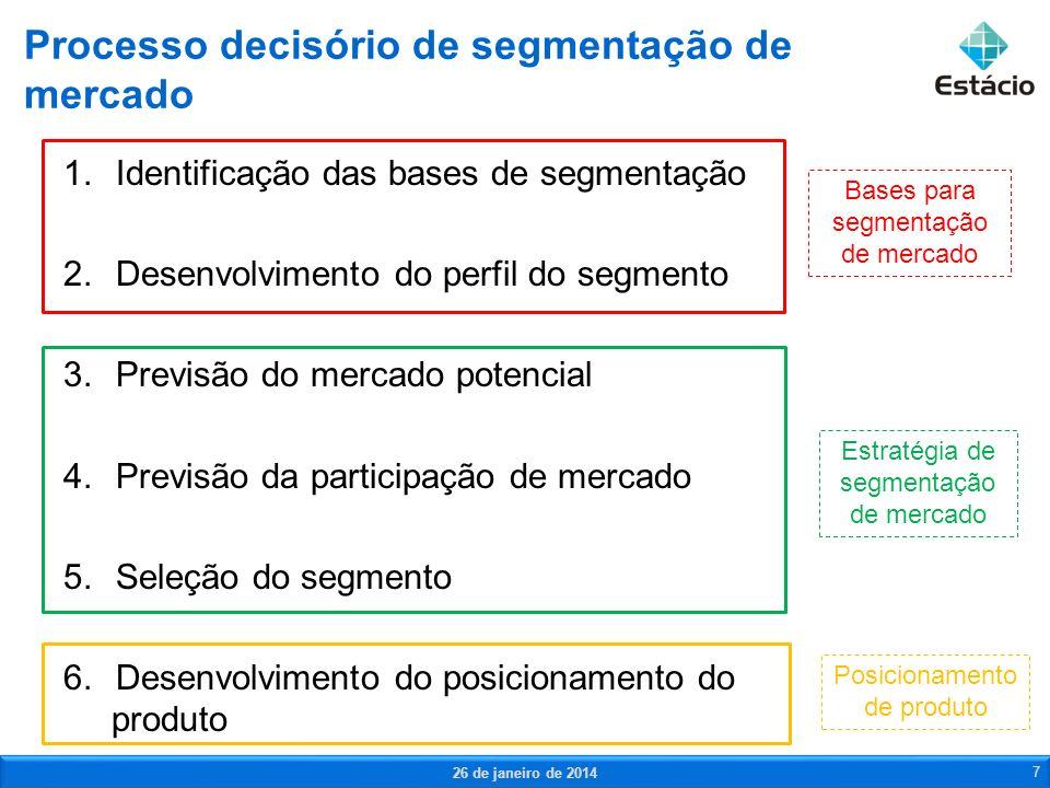 1.Mensurabilidade 2.Acessibilidade 3.Recursos da empresa 4.Potencial de mercado 5.Concorrência Critérios para a segmentação de mercado 26 de janeiro de 2014 8