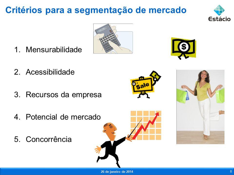 1.Mensurabilidade 2.Acessibilidade 3.Recursos da empresa 4.Potencial de mercado 5.Concorrência Critérios para a segmentação de mercado 26 de janeiro d