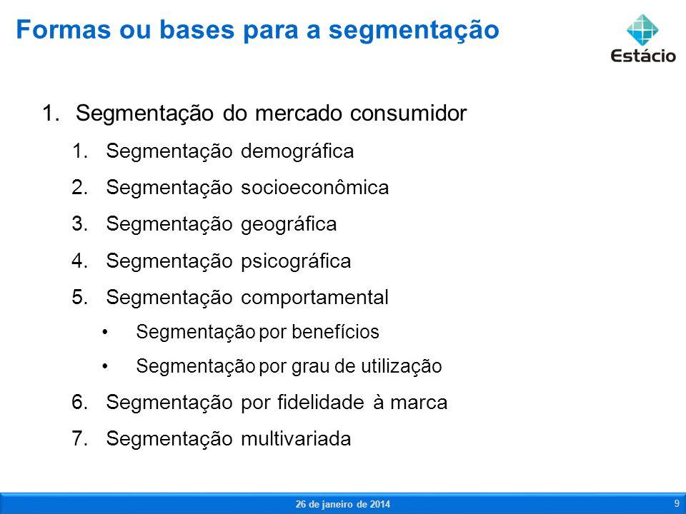 1.Segmentação do mercado consumidor 1.Segmentação demográfica 2.Segmentação socioeconômica 3.Segmentação geográfica 4.Segmentação psicográfica 5.Segme