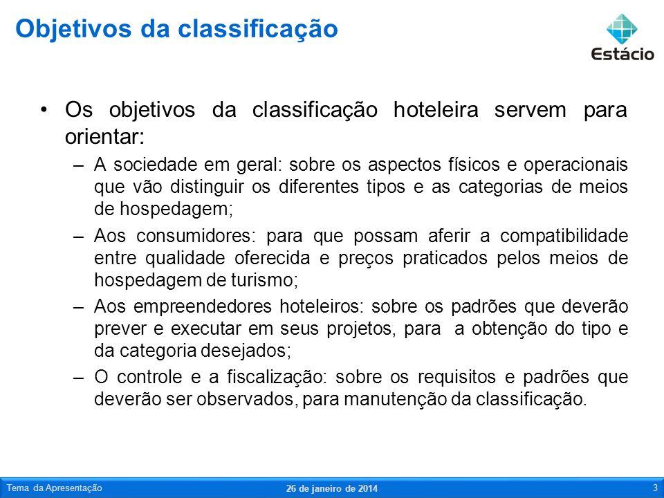 Os objetivos da classificação hoteleira servem para orientar: –A sociedade em geral: sobre os aspectos físicos e operacionais que vão distinguir os di