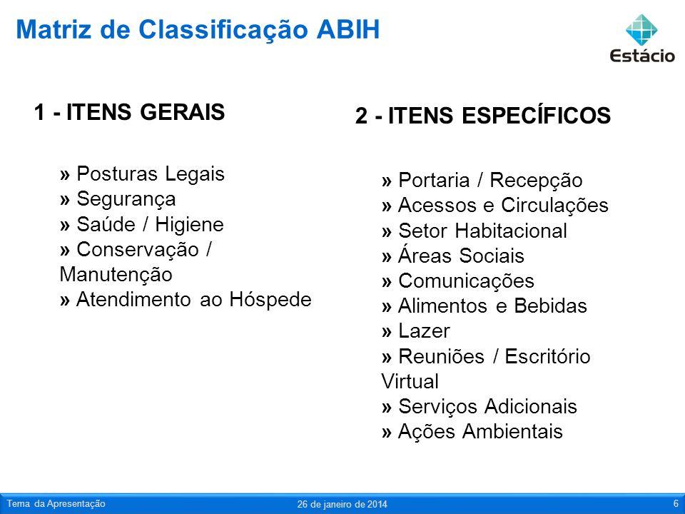 Matriz de Classificação ABIH 1 - ITENS GERAIS » Posturas Legais » Segurança » Saúde / Higiene » Conservação / Manutenção » Atendimento ao Hóspede 2 -