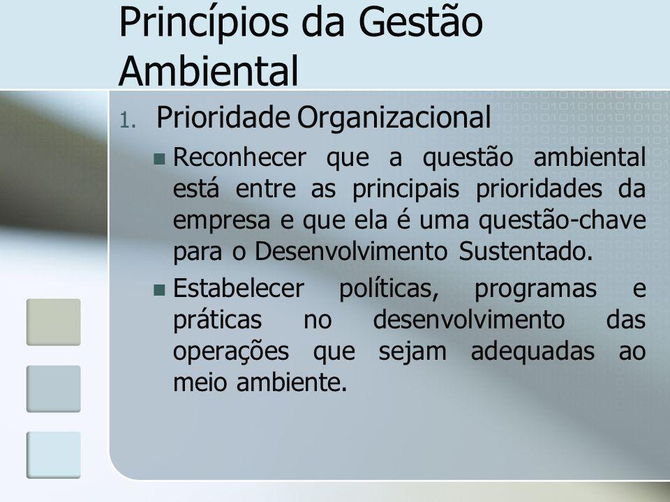 Princípios da Gestão Ambiental 1. Prioridade Organizacional Reconhecer que a questão ambiental está entre as principais prioridades da empresa e que e