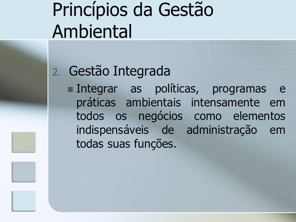 Princípios da Gestão Ambiental 2. Gestão Integrada Integrar as políticas, programas e práticas ambientais intensamente em todos os negócios como eleme