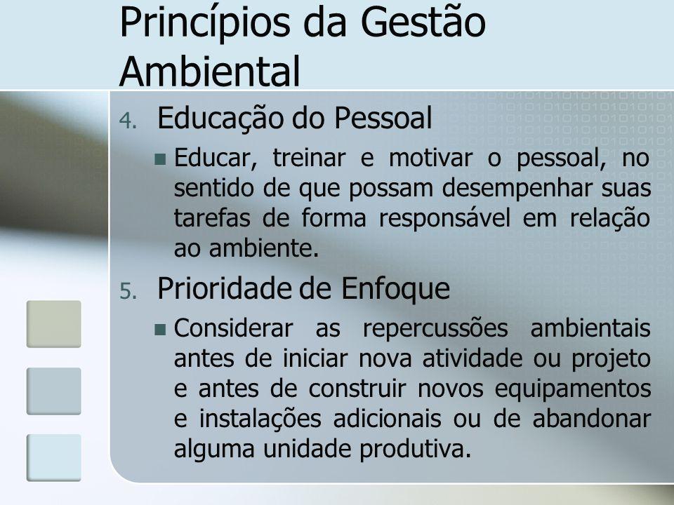 Princípios da Gestão Ambiental 4. Educação do Pessoal Educar, treinar e motivar o pessoal, no sentido de que possam desempenhar suas tarefas de forma