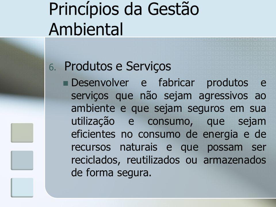 Princípios da Gestão Ambiental 6. Produtos e Serviços Desenvolver e fabricar produtos e serviços que não sejam agressivos ao ambiente e que sejam segu