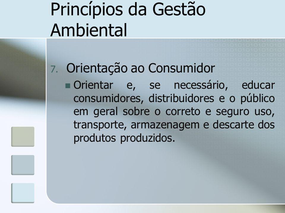 Princípios da Gestão Ambiental 7. Orientação ao Consumidor Orientar e, se necessário, educar consumidores, distribuidores e o público em geral sobre o