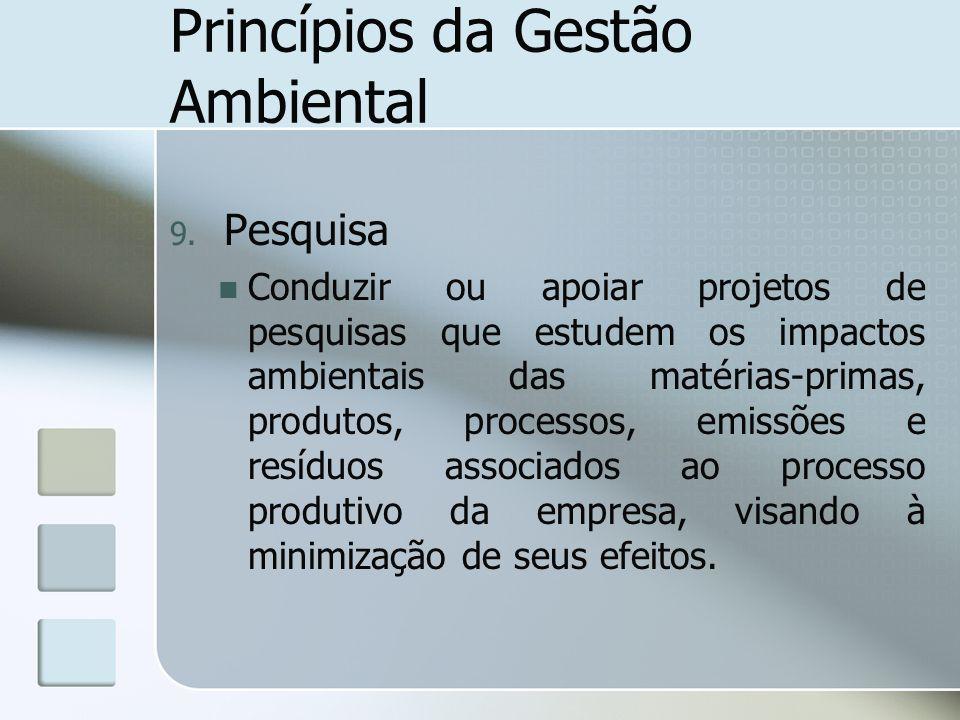 Princípios da Gestão Ambiental 9. Pesquisa Conduzir ou apoiar projetos de pesquisas que estudem os impactos ambientais das matérias-primas, produtos,