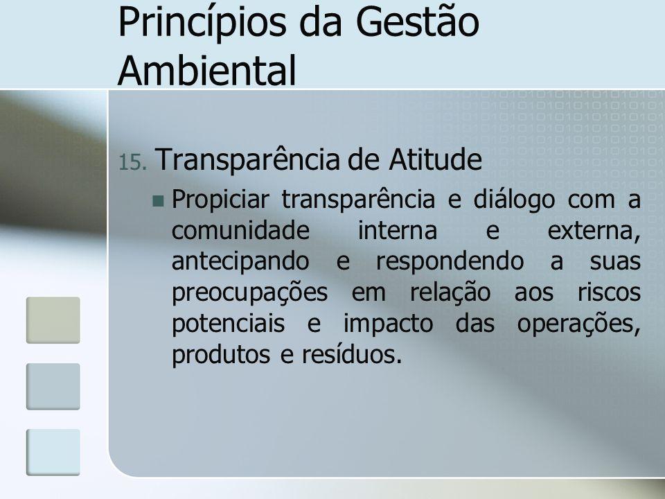 Princípios da Gestão Ambiental 15. Transparência de Atitude Propiciar transparência e diálogo com a comunidade interna e externa, antecipando e respon