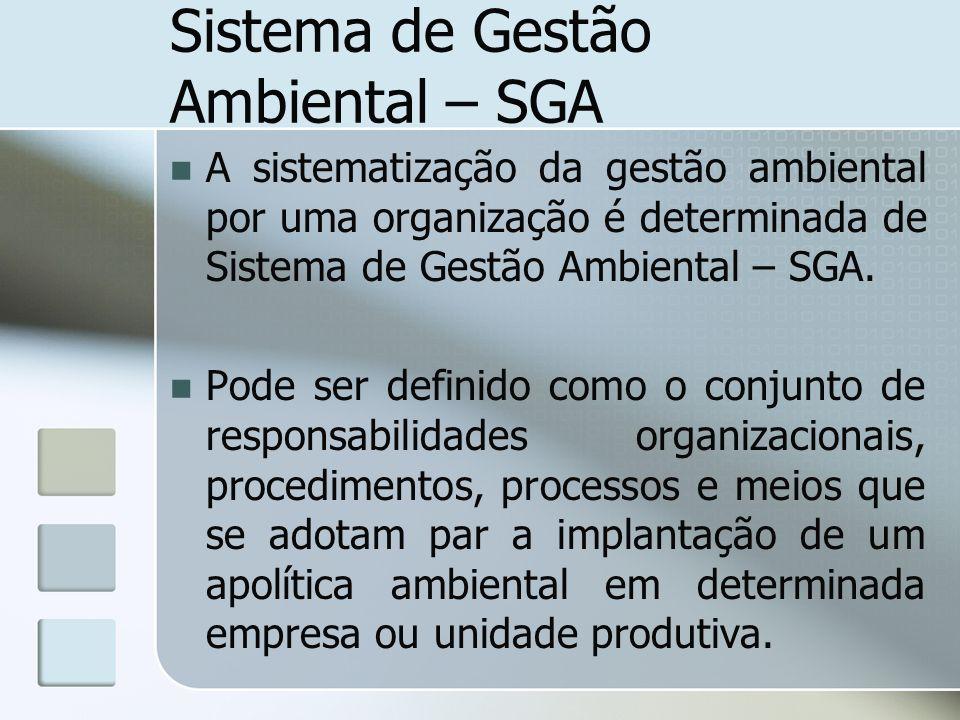 Sistema de Gestão Ambiental – SGA A sistematização da gestão ambiental por uma organização é determinada de Sistema de Gestão Ambiental – SGA. Pode se