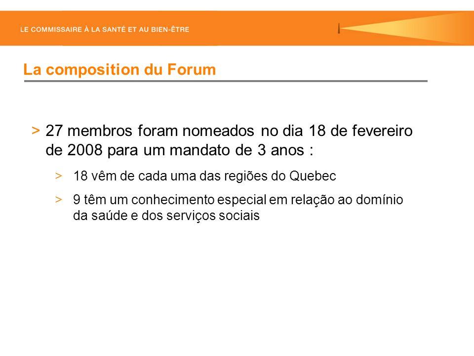 27 membros foram nomeados no dia 18 de fevereiro de 2008 para um mandato de 3 anos : 18 vêm de cada uma das regiões do Quebec 9 têm um conhecimento especial em relação ao domínio da saúde e dos serviços sociais La composition du Forum