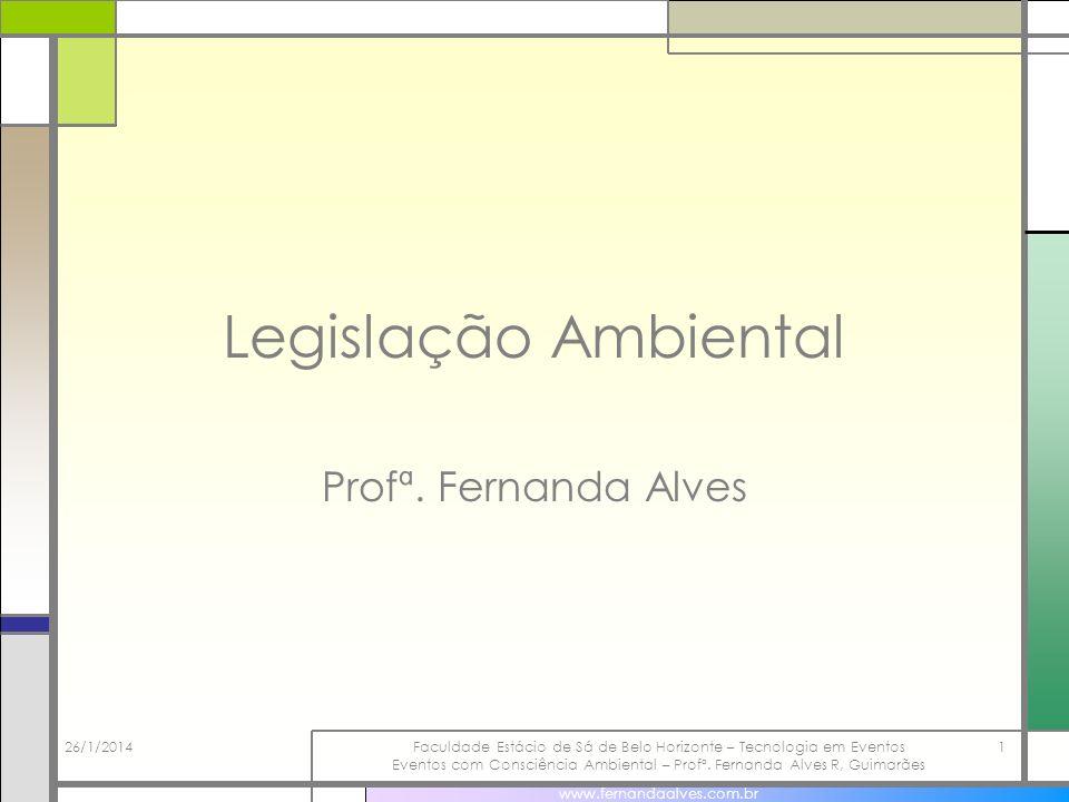 26/1/2014Faculdade Estácio de Sá de Belo Horizonte – Tecnologia em Eventos Eventos com Consciência Ambiental – Profª.