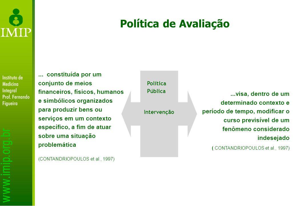 Política de Avaliação... constituída por um conjunto de meios financeiros, físicos, humanos e simbólicos organizados para produzir bens ou serviços em