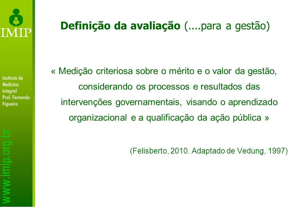 Definição da avaliação (....para a gestão) « Medição criteriosa sobre o mérito e o valor da gestão, considerando os processos e resultados das interve
