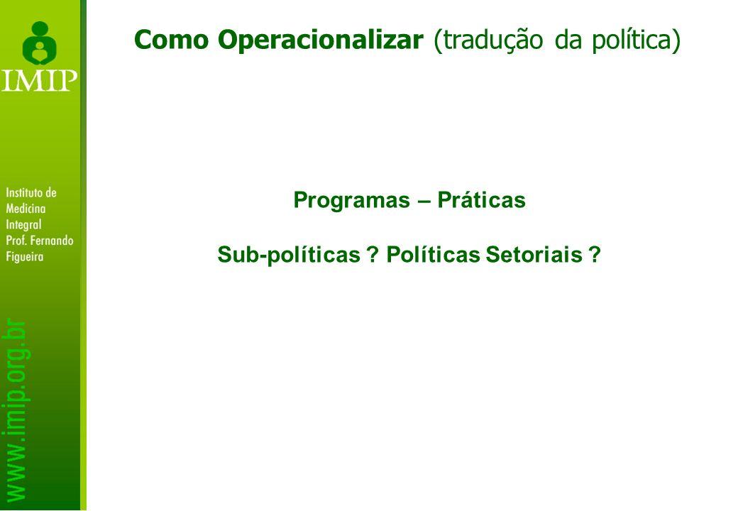 Como Operacionalizar (tradução da política) Programas – Práticas Sub-políticas ? Políticas Setoriais ?