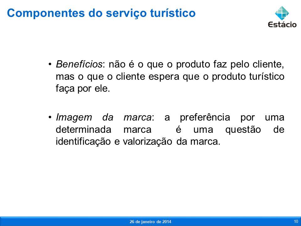 Benefícios: não é o que o produto faz pelo cliente, mas o que o cliente espera que o produto turístico faça por ele. Imagem da marca: a preferência po
