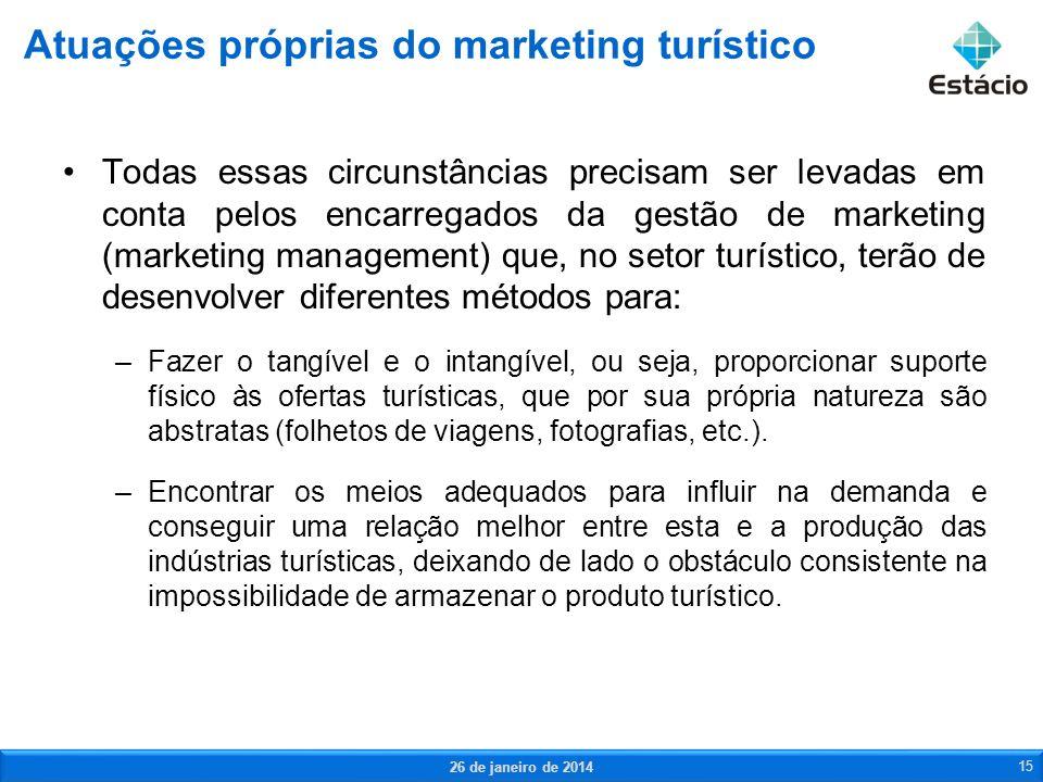 Todas essas circunstâncias precisam ser levadas em conta pelos encarregados da gestão de marketing (marketing management) que, no setor turístico, ter