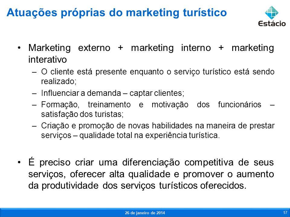 Marketing externo + marketing interno + marketing interativo –O cliente está presente enquanto o serviço turístico está sendo realizado; –Influenciar