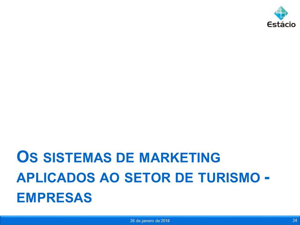 O S SISTEMAS DE MARKETING APLICADOS AO SETOR DE TURISMO - EMPRESAS 26 de janeiro de 2014 24