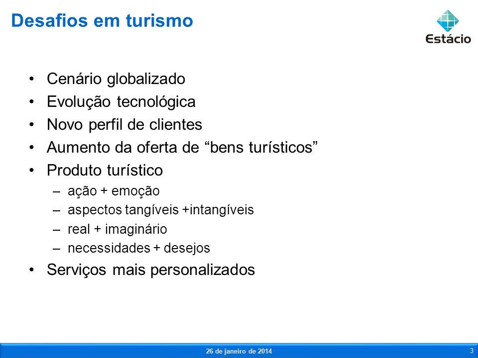 Cenário globalizado Evolução tecnológica Novo perfil de clientes Aumento da oferta de bens turísticos Produto turístico –ação + emoção –aspectos tangí