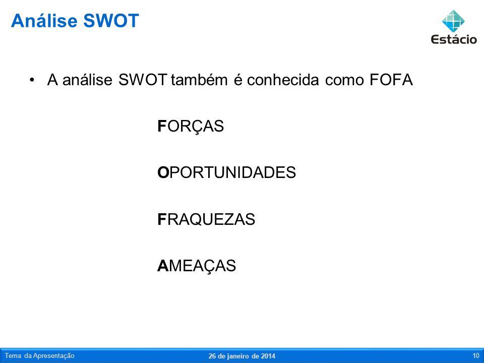 A análise SWOT também é conhecida como FOFA FORÇAS OPORTUNIDADES FRAQUEZAS AMEAÇAS Análise SWOT 26 de janeiro de 2014 Tema da Apresentação10