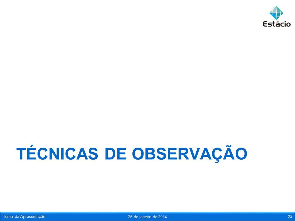 TÉCNICAS DE OBSERVAÇÃO 26 de janeiro de 2014 Tema da Apresentação23