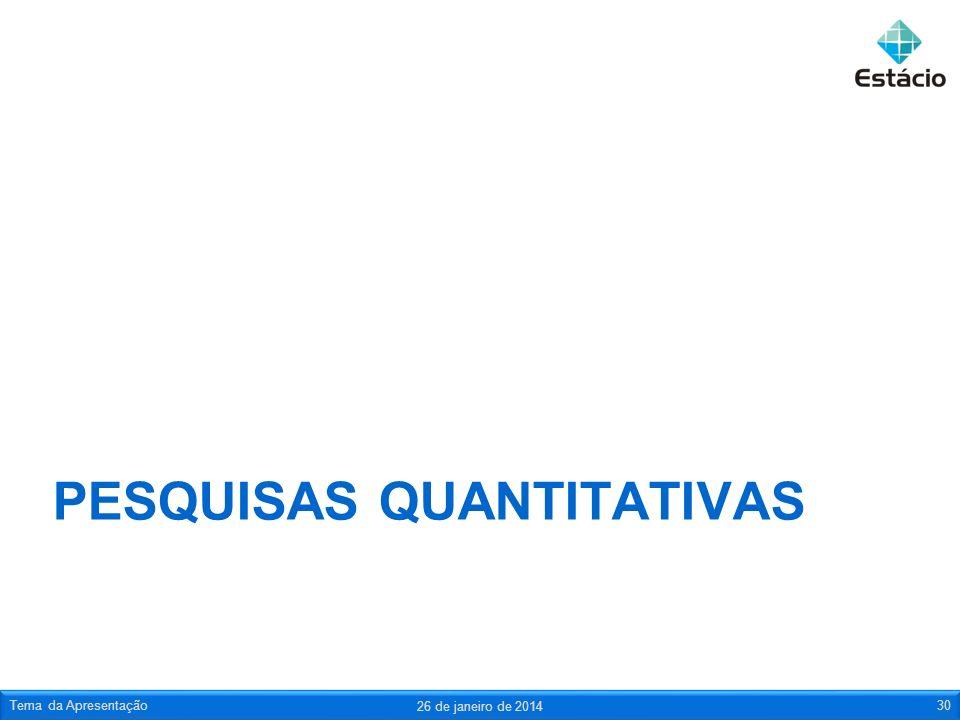 PESQUISAS QUANTITATIVAS 26 de janeiro de 2014 Tema da Apresentação30
