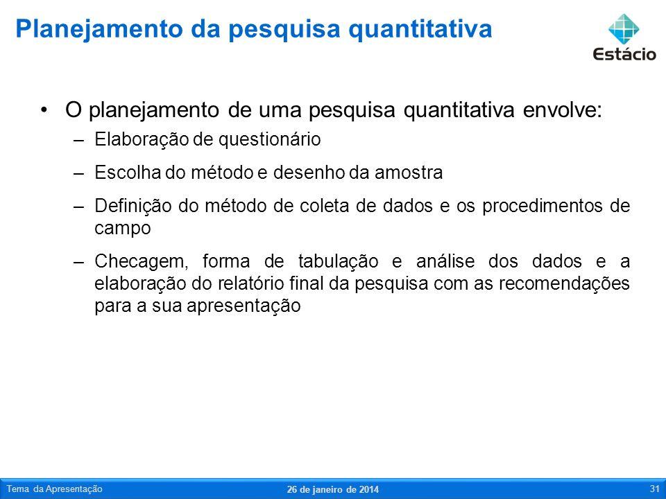 O planejamento de uma pesquisa quantitativa envolve: –Elaboração de questionário –Escolha do método e desenho da amostra –Definição do método de colet