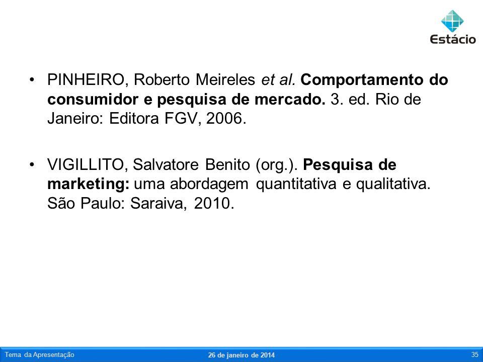 PINHEIRO, Roberto Meireles et al. Comportamento do consumidor e pesquisa de mercado. 3. ed. Rio de Janeiro: Editora FGV, 2006. VIGILLITO, Salvatore Be