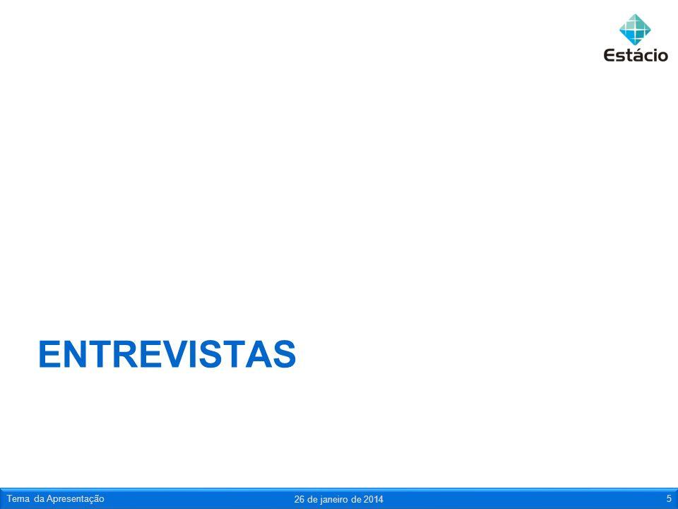 ENTREVISTAS 26 de janeiro de 2014 Tema da Apresentação5