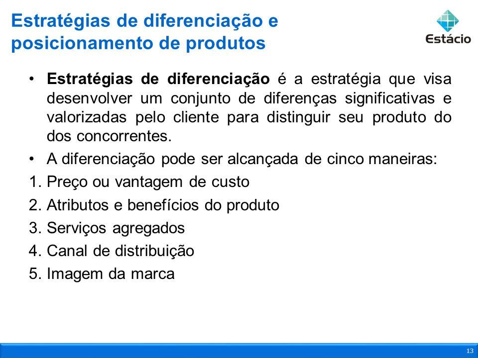 Estratégias de diferenciação é a estratégia que visa desenvolver um conjunto de diferenças significativas e valorizadas pelo cliente para distinguir s