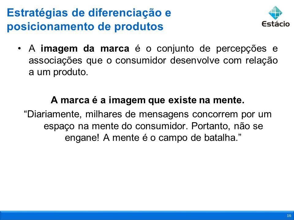 A imagem da marca é o conjunto de percepções e associações que o consumidor desenvolve com relação a um produto. A marca é a imagem que existe na ment