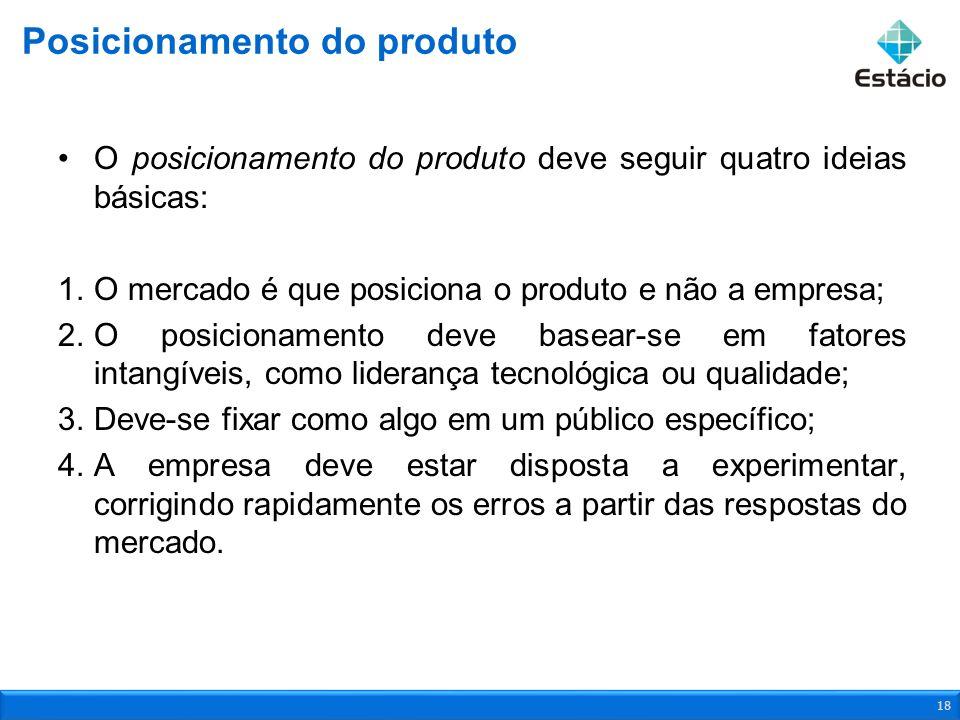 O posicionamento do produto deve seguir quatro ideias básicas: 1.O mercado é que posiciona o produto e não a empresa; 2.O posicionamento deve basear-s