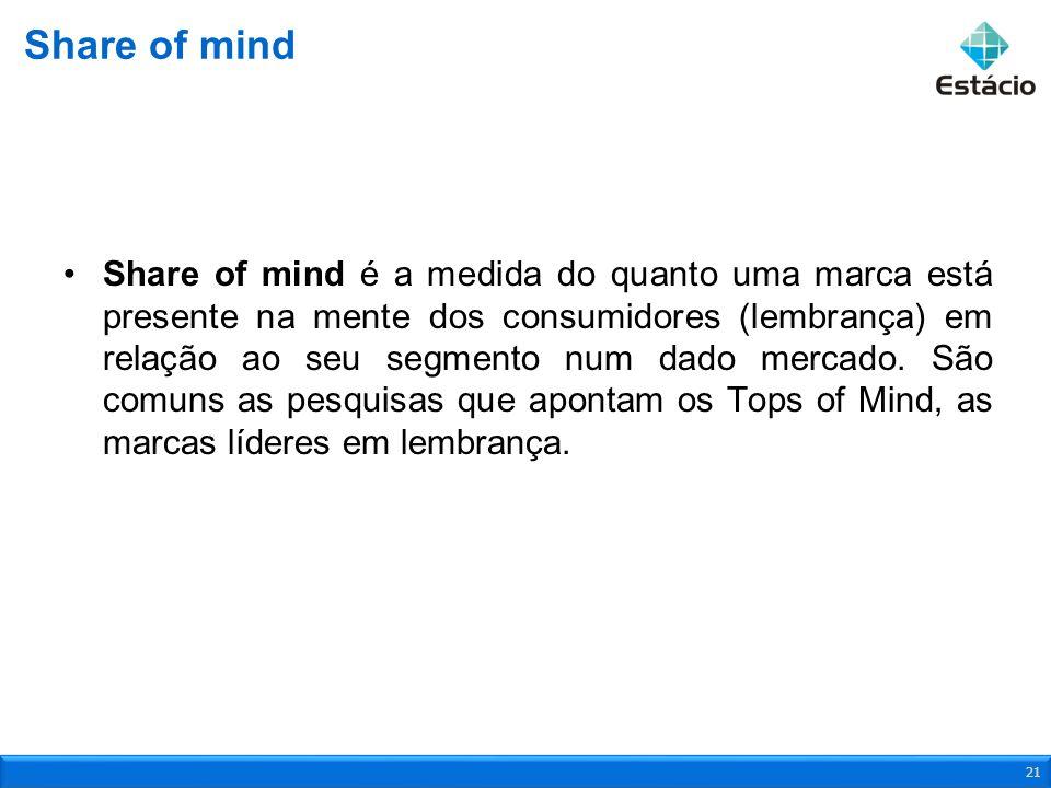 Share of mind é a medida do quanto uma marca está presente na mente dos consumidores (lembrança) em relação ao seu segmento num dado mercado. São comu