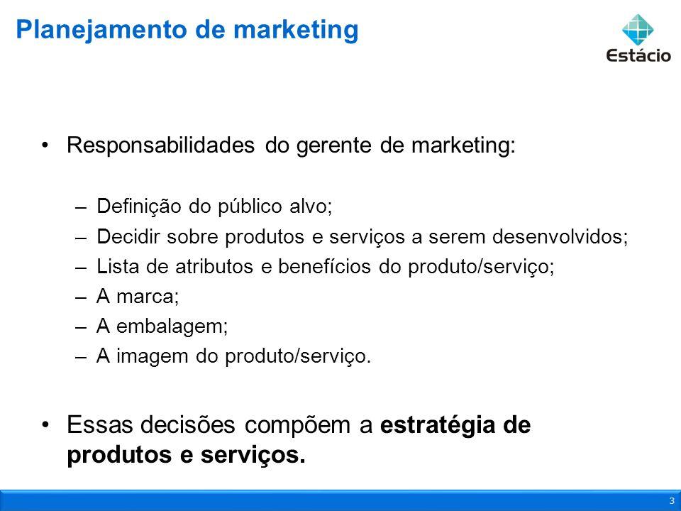 Responsabilidades do gerente de marketing: –Definição do público alvo; –Decidir sobre produtos e serviços a serem desenvolvidos; –Lista de atributos e