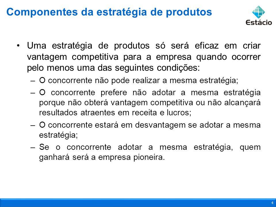 Os componentes de uma estratégia de produtos são: –Objetivos de mercado, como vendas, participação de mercado e lucros; –Público-alvo selecionado; –Benefícios e atributos do produto ou serviço; –Patentes do produto; –Serviços a serem agregados ao produto; –Parceiros que adicionam benefícios ao produto da empresa e agregam valor ao cliente; –Marca; –Embalagem; –Posicionamento e imagem desejados para a marca.